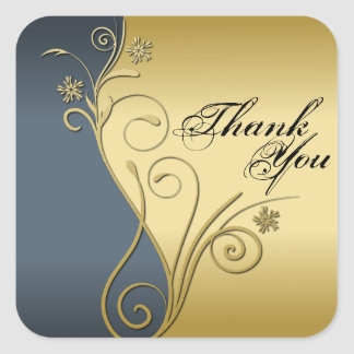 Thank You Seal - Classy Blue & Gold Wedding Square Sticker