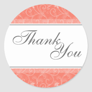 Thank You Seal - Coral Ornage Victorian Wedding Round Sticker