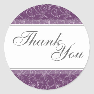 Thank You Seal - Deep Purple Victorian Wedding Round Stickers