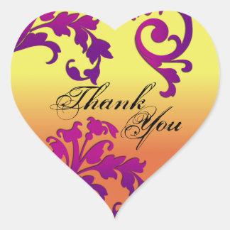 Thank You Seal - Destination Floral Swirl Wedding Heart Sticker