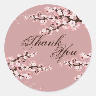 Thank You Seal - Dusty Rose Cherry Blossom Wedding Round Sticker