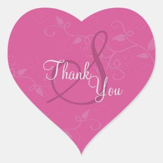 Thank You Seal - Fuchsia Pink Monogram Wedding Heart Sticker
