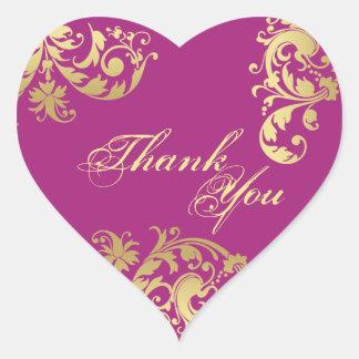 Thank You Seal - Fuschia & Gold Floral Wedding Heart Sticker