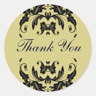 Thank You Seal - Gold Damask Wedding Round Sticker