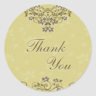 Thank You Seal - Gold Floral Chandelier Round Sticker