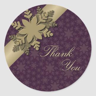 Thank You Seal Gold & Purple Snowflake Wedding Round Sticker