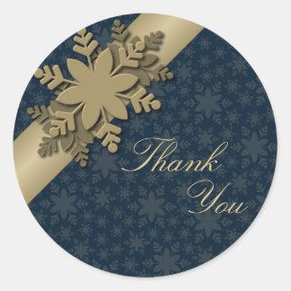 Thank You Seal Gold & White Snowflake Wedding Round Sticker