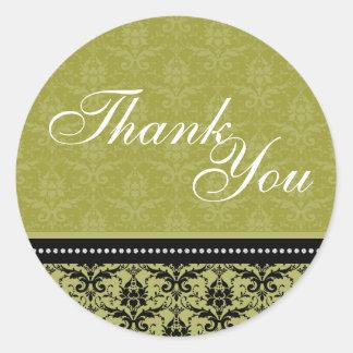 Thank You Seal - Green Elegant Damask Wedding Round Sticker