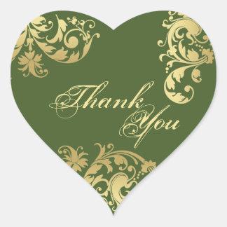 Thank You Seal - Green & Gold Floral Wedding Heart Sticker