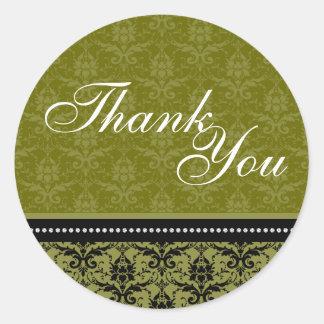 Thank You Seal - Green Victorian Wedding Round Sticker