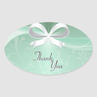 Thank You Seal Green White Floral Ribbon Wedding Oval Sticker