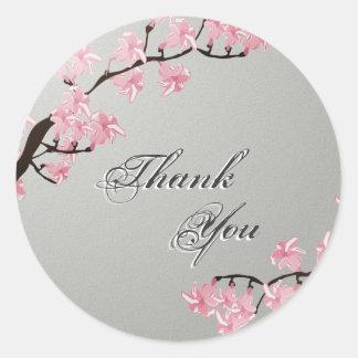 Thank You Seal Grey Pink Cherry Blossom Wedding Round Sticker