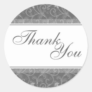 Thank You Seal - Grey Victorian Floral Wedding Round Sticker