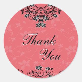 Thank You Seal - Honeysuckle Pink Floral Round Sticker