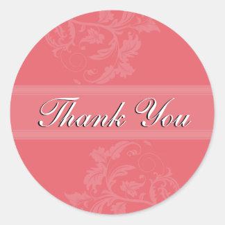 Thank You Seal - Honeysuckle Pink Floral Wedding Round Sticker