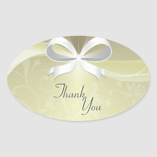 Thank You Seal Ivory & White Floral Ribbon Wedding Oval Sticker