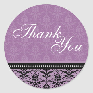 Thank You Seal - Lavender Purple Damask Wedding Round Sticker