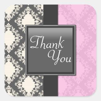 Thank You Seal - Light Pink & White Damask Wedding Square Sticker