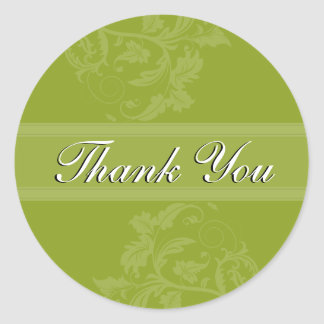 Thank You Seal - Olive Green Floral Wedding Round Sticker