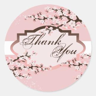 Thank You Seal - Pink Cherry Blossom Wedding Round Sticker