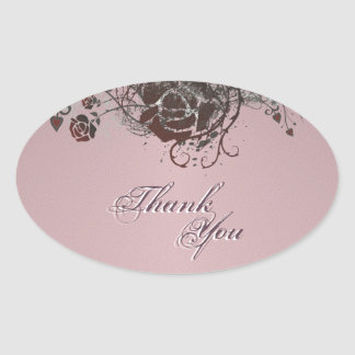 Thank You Seal Pink &  Red Rose Floral Wedding Oval Sticker