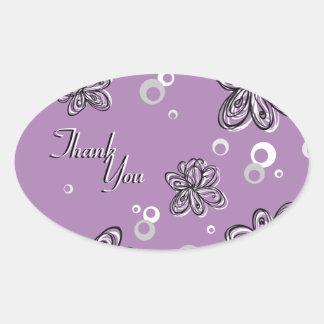 Thank You Seal Purple Black & White Floral Wedding Oval Sticker