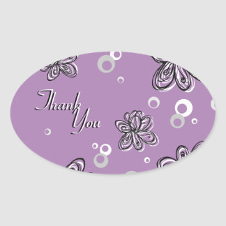 Thank You Seal Purple Black & White Floral Wedding Stickers