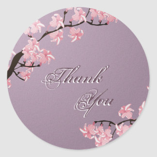 Thank You Seal Purple Pink Cherry Blossom Wedding Round Sticker