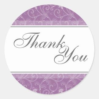 Thank You Seal - Purple Victorian Wedding Round Sticker