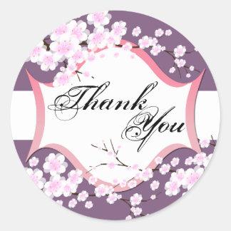 Thank You Seal - Purple & White Blossoms Wedding Round Sticker