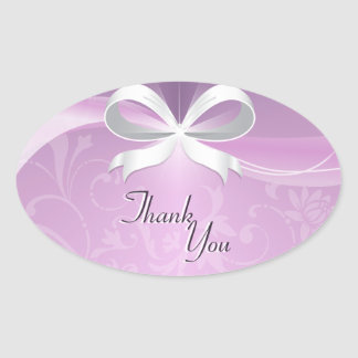 Thank You Seal Purple White Floral Ribbon Wedding Oval Sticker
