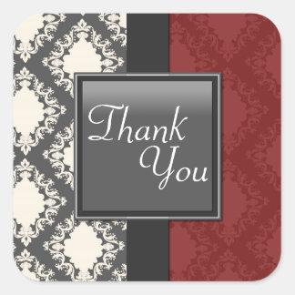 Thank You Seal - Red Black & White Damask Wedding Square Sticker