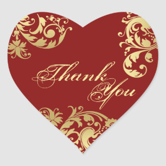 Thank You Seal - Red & Gold Floral Wedding Heart Sticker