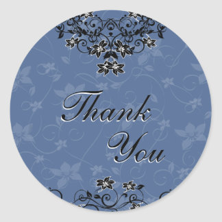 Thank You Seal - Royal Blue Chandelier Floral Round Sticker