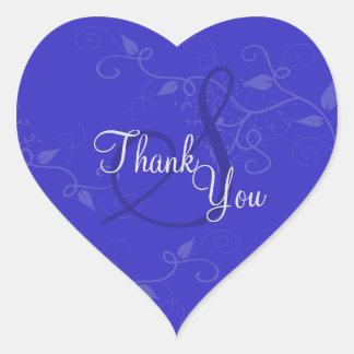 Thank You Seal - Royal Blue Monogram Wedding Heart Sticker