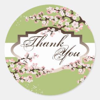 Thank You Seal - Sage Green Cherry Blossom Wedding Round Sticker