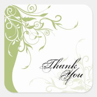 Thank You Seal - Sage Green & White Floral Wedding Square Sticker