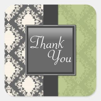 Thank You Seal - SageGreen & White Damask Wedding Sticker