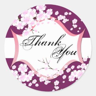 Thank You Seal - Sangria & White Blossoms Wedding Round Sticker
