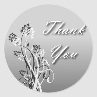 Thank You Seal - Silver, Black and White Floral Round Sticker