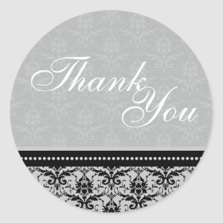 Thank You Seal - Slate Grey Damask Wedding Round Sticker