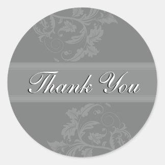 Thank You Seal - Slate Grey Floral Wedding Round Sticker