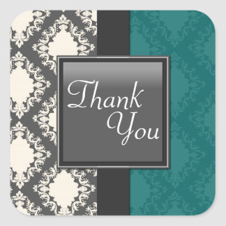 Thank You Seal - Teal Black & White Damask Wedding Square Sticker