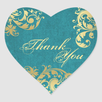 Thank You Seal - Teal & Gold Floral Wedding Heart Sticker