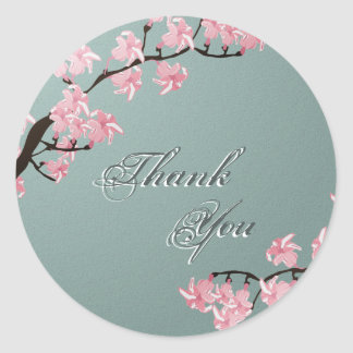 Thank You Seal Teal Pink Cherry Blossom Wedding Round Sticker