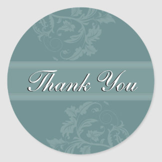 Thank You Seal - Turquoise Blue Floral Wedding Round Sticker