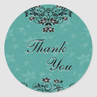Thank You Seal - Turquoise Chandelier Floral Round Sticker