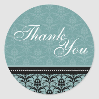 Thank You Seal - Turquoise Damask Wedding Round Sticker
