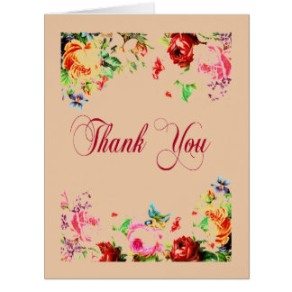 Thank You Shabby Chic Floral Decorative Art Card