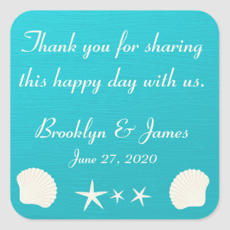 Thank You Shells On Beach Wedding Stickers Square Stickers
